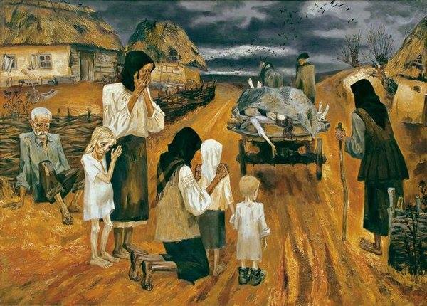 Approximately 17 Ukrainians were murdered per minute in the Ukrainian genocide known as the Holodomor. (The Last Road, painting by Nina Marchenko)