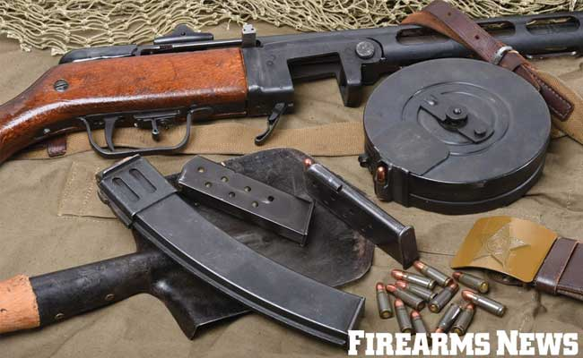 Initally the PPSh-41 fed from high capacity 71-round drum magazines although later in the war 35-round box magazines were introduced.