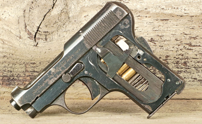 "James Bond typically carried his Beretta 418 ""skeletonized"" with the grips removed. While this does little to make the already tiny gun any tinier, it would seem a good way to befoul the guts of the weapon with pocket lint."