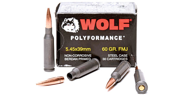 While surplus 7N6 ammo is gone, Wolf still imports this steel-cased 60-grain FMJ 5.45x39mm load so AK-74 shooters can get their fix at a good price.