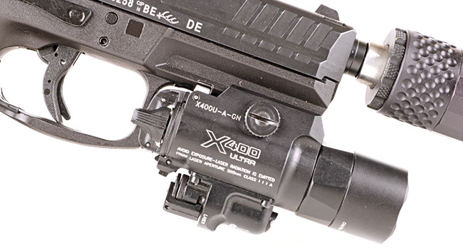 The Surefire X400 Ultra is the top of the heap among weapon-mounted illuminators. Lightweight, robust, and reliable, my X400 Ultra sports a green laser and milspec construction.