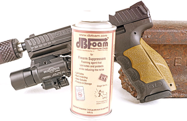 dB Foam from Inland Manufacturing is designed to be used as an ablative material in sound suppressors. Water-based and easy to use, this nifty stuff greatly enhances the effectiveness of your suppressor.