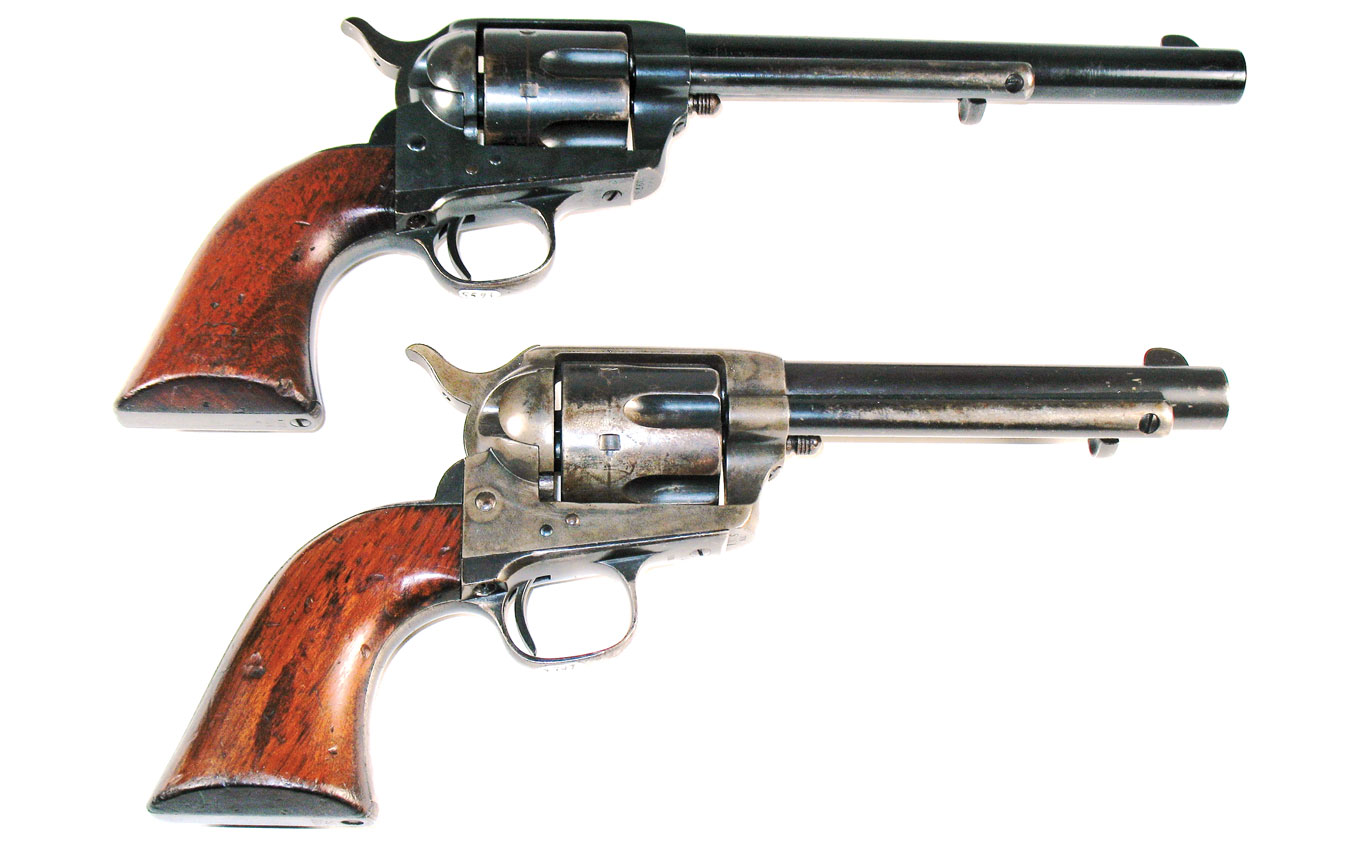 "Two U.S. Army issue Colt SAA revolvers showing the original 7½"" barrel and the shortened 5½"" barrel of the SAA's later years in Army service. (Photo credit U.S. Army, Rhode Island Arsenal)"