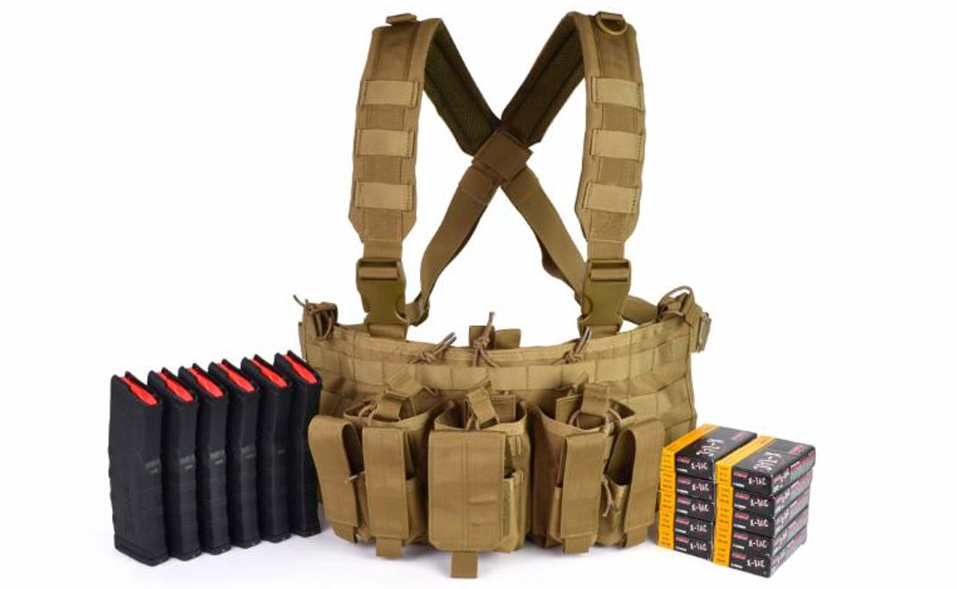 Your Ready-To-Go Ammunition Depot kit includes Condor's Recon Chest Rig and Six Amend2 mag bundled with PMC ammo.