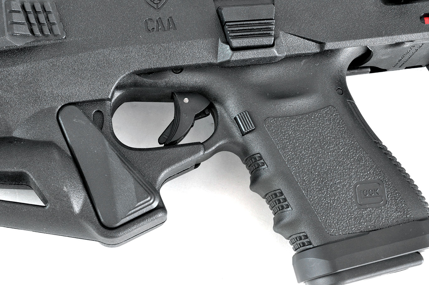 Micro RONI Stabilizer with Glock inserted, showing the manual safety lever down.