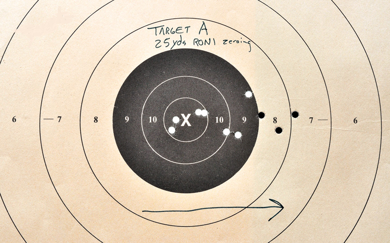 Target A:  After initially zeroing the Micro RONI, Tarr tried to shoot for groups and discovered the point of impact moving to the right as the Glock settled into the RONI chassis.  But then it stopped.