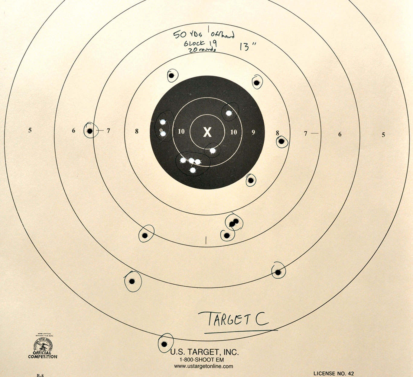 Target C: This 13-inch group at 50 yards is indicative of how accurate Tarr is with just a Glock 19 shooting offhand.  With the Micro RONI Stabilizer, his groups were cut in half or better.