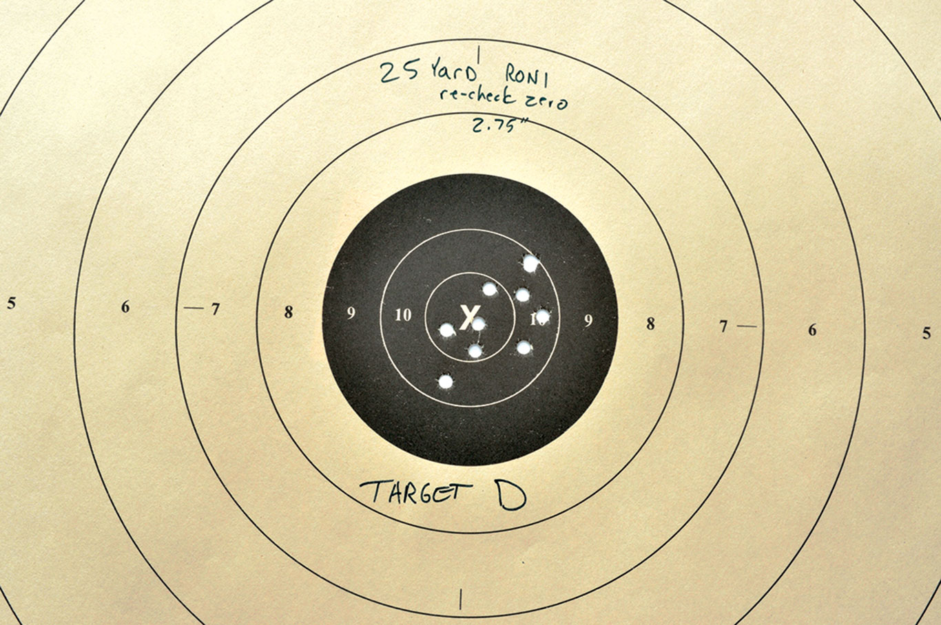 Target D: After removing and reinstalling the Glock 19 from the Micro RONI Stabilizer twice, Tarr checked the zero, and discovered it had shifted less than an inch at 25 yards.