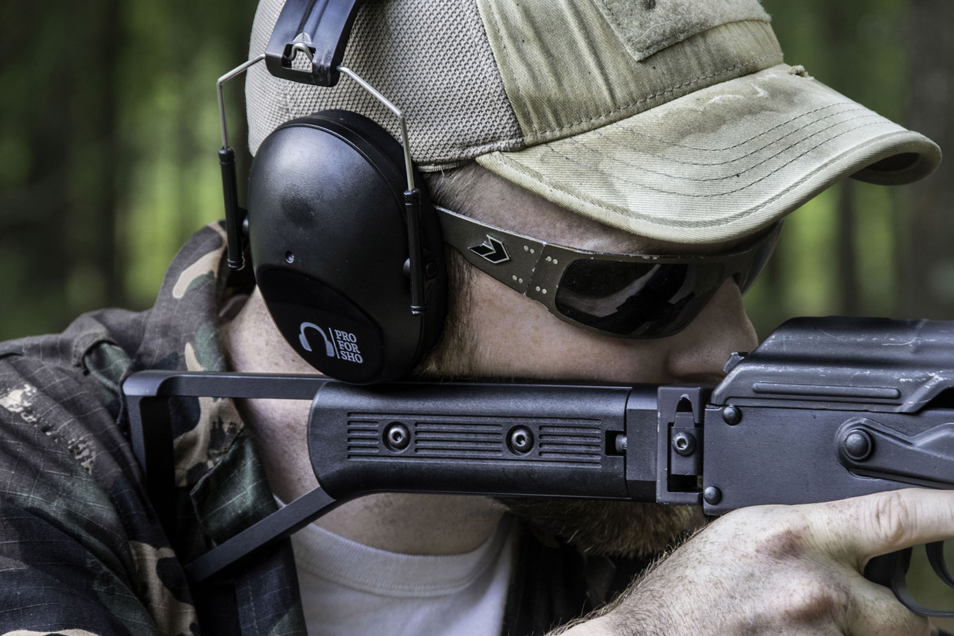 The muffs are low enough profile to allow the Author to get a proper sight picture with his compact Draco AKM SBR'd carbine.