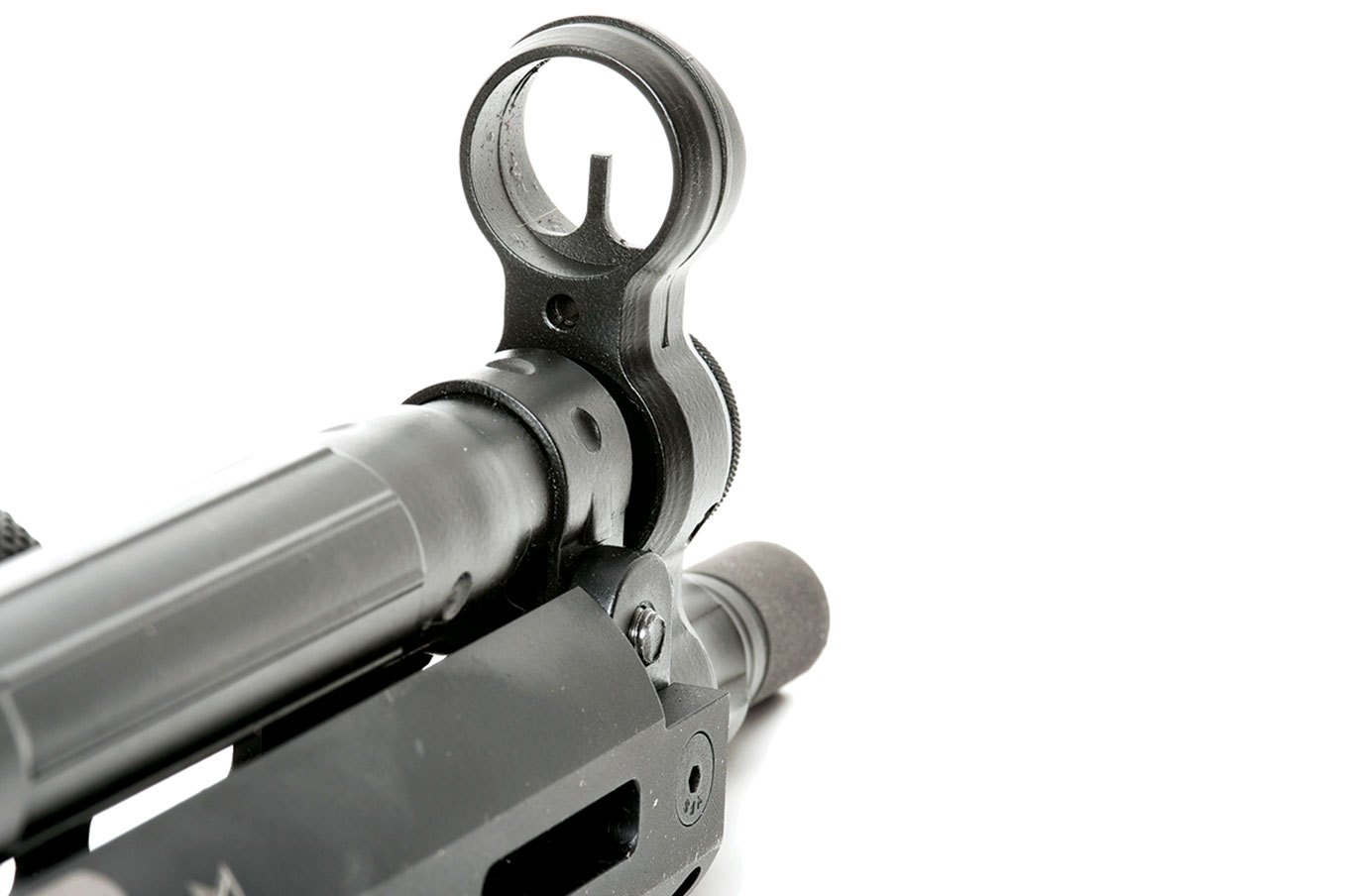 The front sight is a post centered inside a large protective ring.