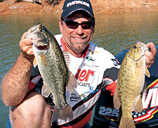 Berryessa is one of Northern Cal's last waters where anglers have a legitimate shot at catching spotted, largemouth and smallmouth bass in the same day -- or on consecutive casts. (May 2006)