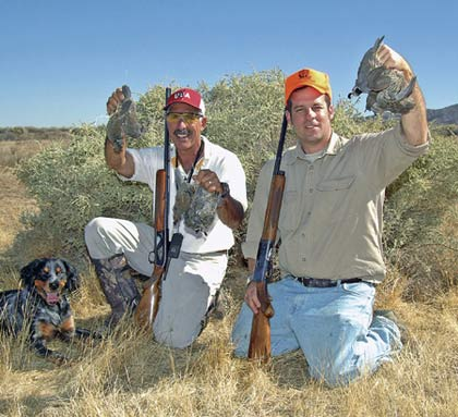 Chuck Ring, left, and Joel Topping took these California quail last