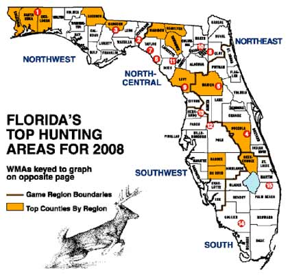 Deer can be found in every corner of Florida, but some areas produce far more whitetails than others. Here's an in-depth look at the best places to bag a deer this fall. (October 2008)