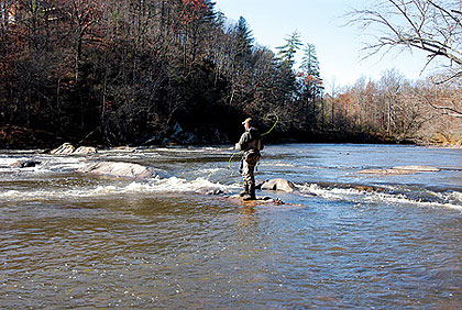 Once upstream of Lake Lanier, you're likely to find the bass fishing on the Chattahoochee River a bit different. Join the author in tackling this moving water.  (March 2009)