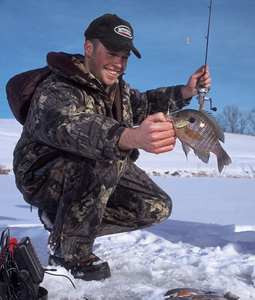 Bluegills and crappies are both staples of our hardwater action, and if the weather cooperates, there'll be no shortage of venues to auger into for them. (January 2007)