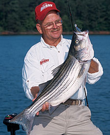 If you think a largemouth bass or a catfish can fight hard, you should try doing battle with a striped bass on these waters. You'll be hooked for life! (April 2006)