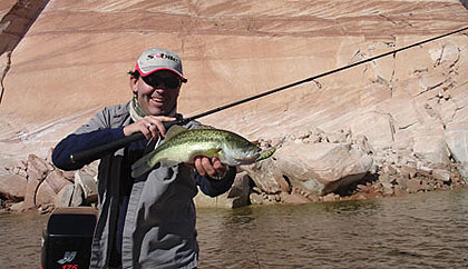 Spring is for big-bass action at southern Utah's Gunlock, Quail Creek and Sand Hollow reservoirs. (April 2009)