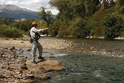 Colorado anglers find excellent trout fishing wading the upper reaches of the restored and revitalized Arkansas River. (May 2010)