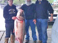 Gene Swope, center, of Excelsior Springs, shows off his record bighead carp with grandsons Garron Grass, right, and Justin Swope, left. Photo Courtesy Missouri Department of Conservation