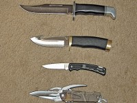 Four types of knives a hunter should consider owning -- From top to bottom: an all-purpose non-folding knife (a Buck 119 Special); a fixed-blade knife for field dressing (Buck Zipper); an all-purpose camp knife (Buck 730 X-Tract); and a folding lockback knife.