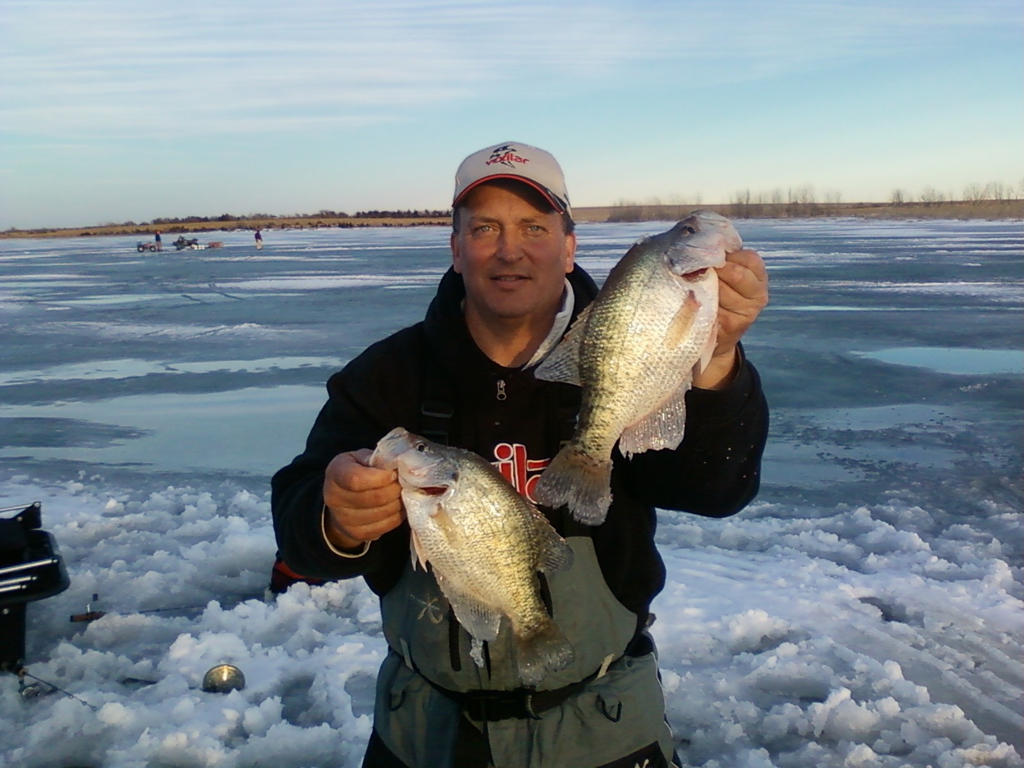 February can mean great ice-fishing for crappies at Glen Elder Reservoir in Kansas. Big slabs can be takien on waxworm-tipped jigs. ■ Photo courtesy of Monte Mares.