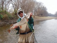 The auhor caught this nice-sized river pike on the Grand River, one of his prize picks for early pike action.  Photo by Jim Bedford.