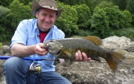 Fishing with the Big K Guest Ranch, Gary Lewis caught this big smallmouth bass while the party was stopped for a shore lunch.  Photo by Gary Lewis.