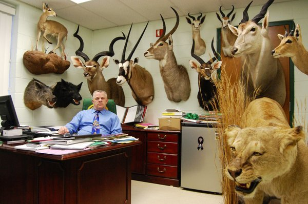 A collection of African hunting trophies has been removed from a South Carolina principal's office.