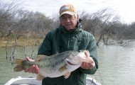 Bob Hood caught this impressive largemouth while fishing Falcon Lake, a great spot for winter bass action. Yes, it sometimes does get cold down on the Mexican border. Photo by Frank Dobbs.