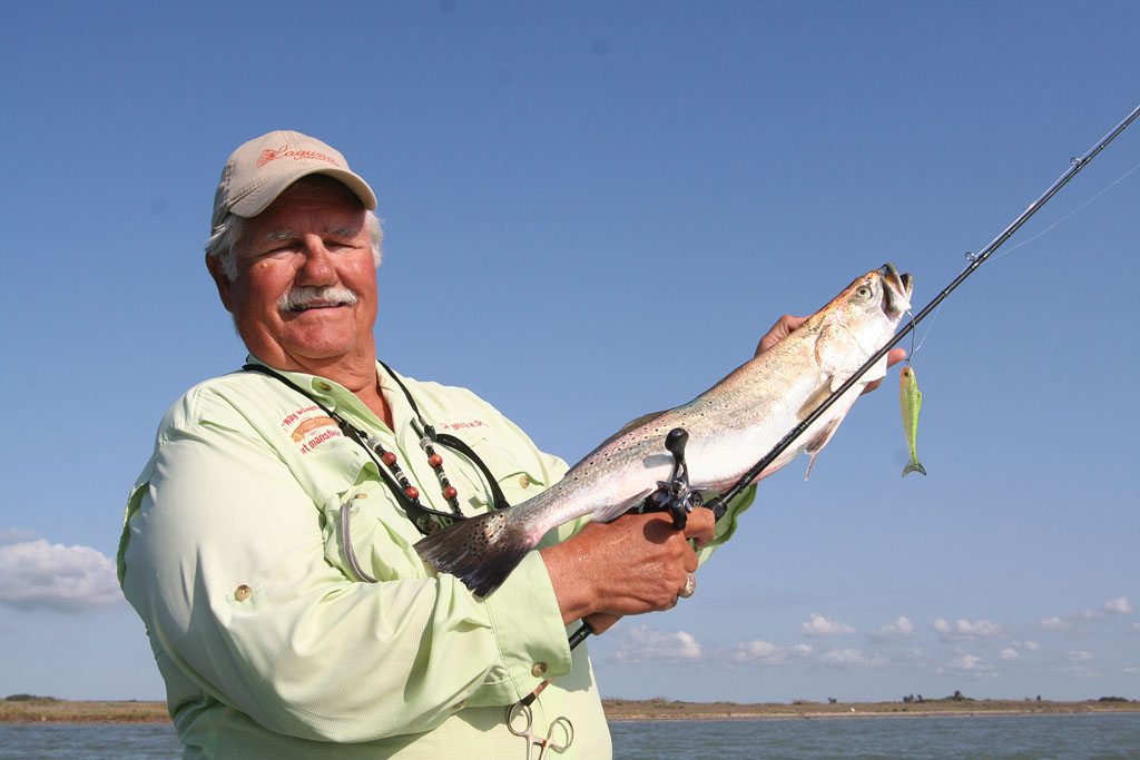 Capt. Bruce Schuler used a 5-inch Wedgetail Mullet to catch this 5-pound speckled trout while fishing the Laguna Madre out of Port Mansfield. Photo by Robert Sloan.