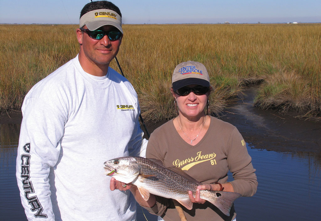 Capt. Nickie Savoie puts his anglers on plenty of redfish in the Golden Meadow region of Louisiana. Photo courtesy of Polly Dean.