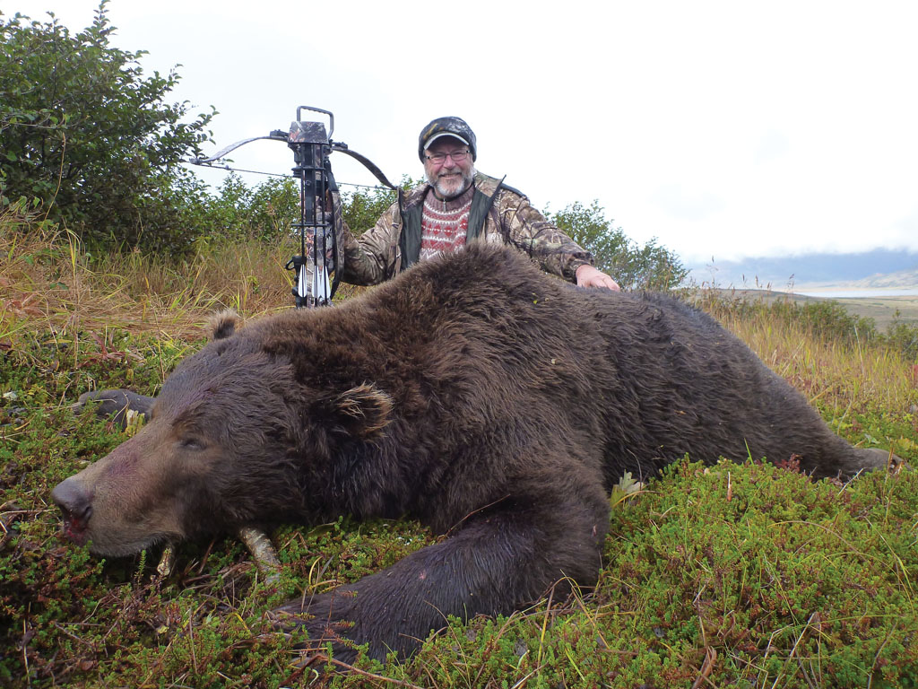 Each of Troubridge's dangerous-game hunts have had a pucker moment. A giant Alaskan Peninsula brown bear got to within less than 10 yards of Troubridge and his fired crossbow before it turned tail. Photos by Bill Troubridge.