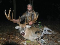 Ronnie Stevens with his buck shortly after recovering the deer. The rack grossed an even 195 and netted 187 7/8, making it the 5th-largest typical ever taken in Ohio.  Photo courtesy of Ronnie Stevens.