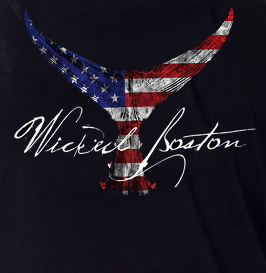boston t-shirt, gyotaku art, tuna tail art, american flag print