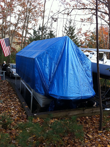 winterizing a boat, how to winterize a boat, covered boat, boat cover