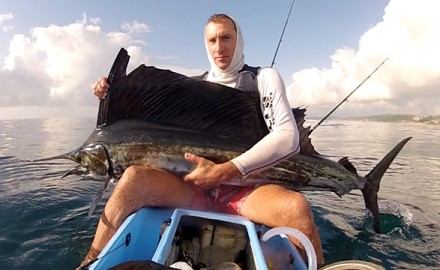 crazy sailfish, kayak fisherman
