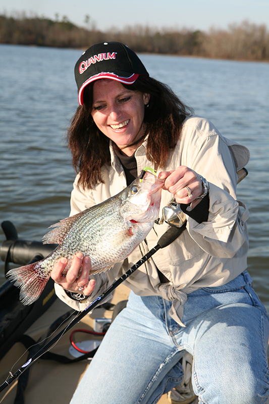 crappie fishing, woman with crappie, catching slabs