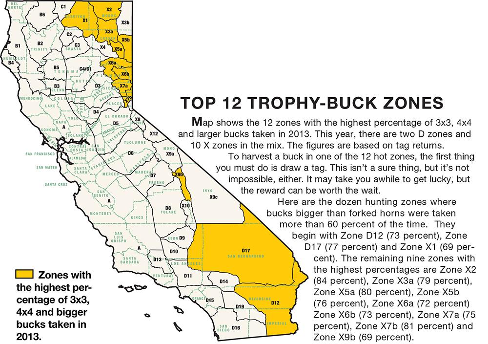 California deer zone map for California fishing regulations 2017