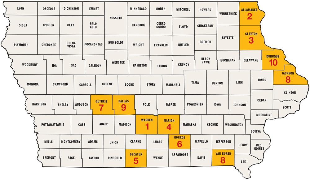 Best Big Buck States For Iowa Game Fish - Counties in iowa
