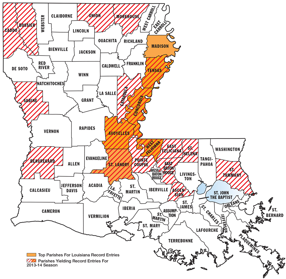 Best big buck states for 2014 louisiana game fish for Louisiana fish and game