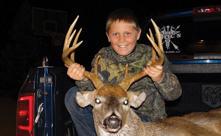 Hunter Dymond shot this nine pointer Sunday night on our farm in Osage Beach, Mo., during youth season.