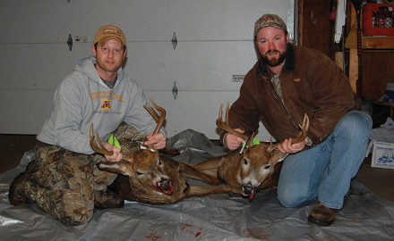 Trevor Awker and Shane Kazlausky both filled their tags with these nice bucks during rifle season 2013 in the Wood-ruff Arbor Vitae area.