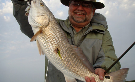 Redfish hit a variety of natural baits in the fall, including sea lice, which caught this good