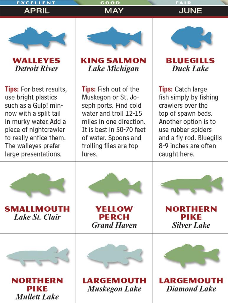 Michigan 2015 fishing calendar game fish for Fishing forecast calendar