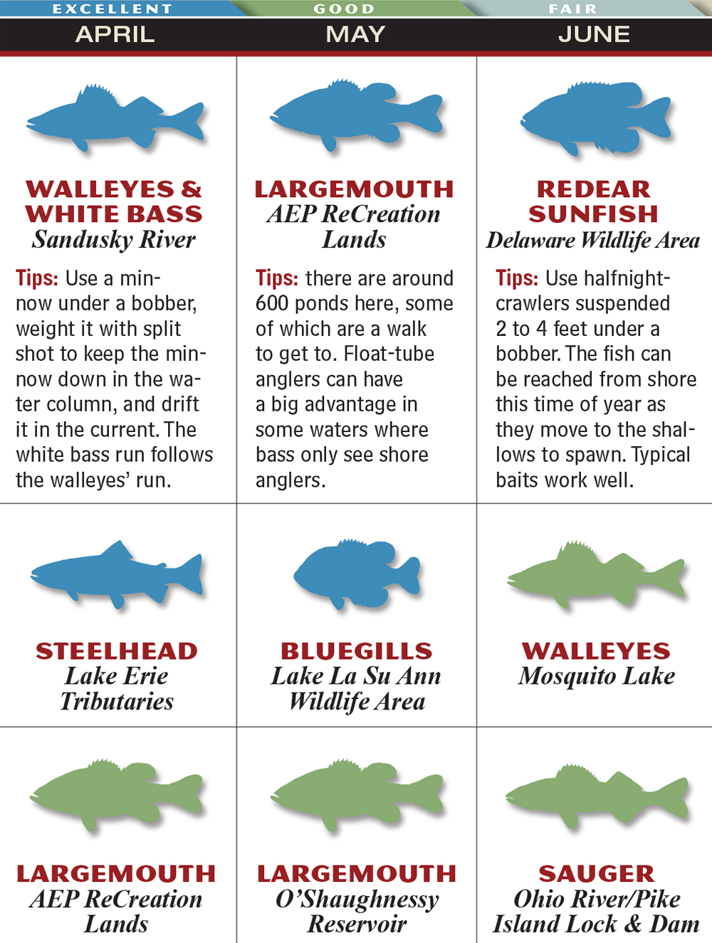 Ohio 2015 fishing calendar game fish for Ohio fish and game