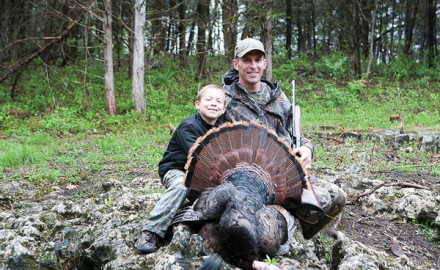 Nicholas Jeffries and his dad, Aaron Jeffries, of Jefferson City, enjoy Missouri's youth turkey season.
