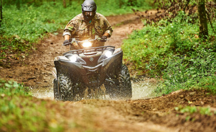 The 2016 Yamaha Grizzly is designed for more aggressive riding.