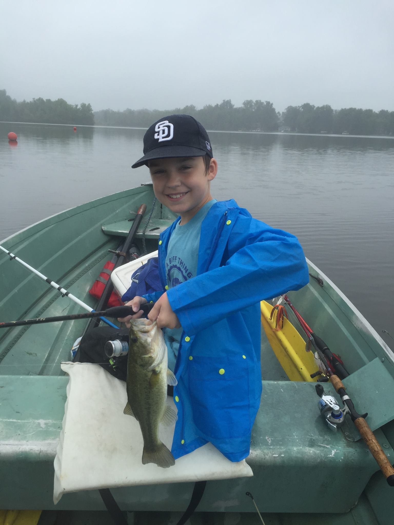 Rainy day smiles game fish for Bass fishing in the rain