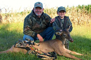 2014 October. My 5-year-old grandson, Matt Ellis, with his first deer hunt ever. Using a PSE crossbow he made a 30-yard shot right in the 10 ring.