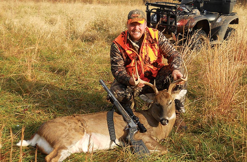 Terry Davis used a .50 caliber Thompson/Center Encore muzzleloader on this big 8-pointer near Gore, Virginia, on Nov. 15. Weather and habitat conditions are favorable for a great hunting season in 2015, so Virginia should produce a bumper crop of good bucks in 2015.